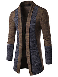 cheap -Men's Basic Long Sleeve Butterfly Sleeves Slim Cardigan - Color Block, Patchwork Shawl Lapel