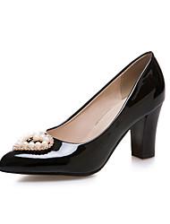 Women's Heels Basic Pump PU Spring Summer Wedding Office & Career Party & Evening Dress Basic Pump Applique Imitation PearlAlmond Ruby