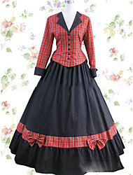 Victorian Rococo Female One Piece Dress Red Cosplay Other Satin Long Sleeves Cap Floor Length