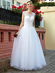 A-Line Scoop Neck Floor Length Tulle Wedding Dress with Beading Appliques Button by HQY
