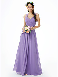 cheap -Sheath / Column Straps Floor Length Chiffon Bridesmaid Dress with Lace Sash / Ribbon Ruched Criss Cross by LAN TING BRIDE®