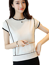 Women's Casual/Daily Simple Summer Color Block Round Neck Short Sleeve Knit T-shirt Pullover