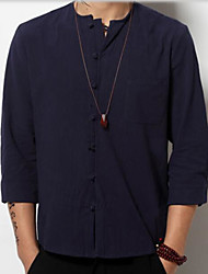 Men's Casual/Daily Simple Chinoiserie Spring Fall Shirt,Solid Round Neck Long Sleeves Linen
