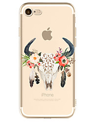 cheap -Case For Apple iPhone 7 Plus iPhone 7 Transparent Pattern Back Cover Flower Skull Soft TPU for iPhone 7 Plus iPhone 7 iPhone 6s Plus