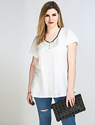 Really Love Women's Plus Size Casual/Daily Holiday Sexy Simple Cute Spring Summer T-shirt,Color Block Patchwork V Neck Short SleeveCotton Polyester