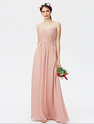 cheap -Sheath / Column Straps Floor Length Chiffon Bridesmaid Dress with Pleats Ruched Criss Cross by LAN TING BRIDE®