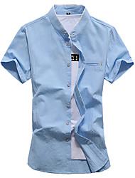 Camicia Da uomo Feste Compleanno Da sera Per uscire Taglie forti Vintage Moda città Primavera Estate,Tinta unita Colletto Mao Cotone
