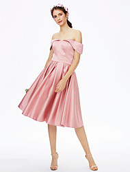 cheap -Princess Off Shoulder Knee Length Satin Bridesmaid Dress with Pleats by LAN TING BRIDE®