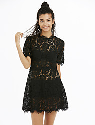 cheap -Women's Street chic A Line / Sheath / Lace Dress - Solid Colored Lace / Spring / Summer