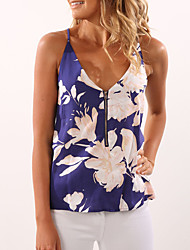 cheap -Women's Daily Going out Holiday Vintage Sexy Street chic Spring Summer Tank Top,Floral Strap Sleeveless Polyester Medium