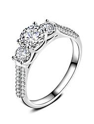 Кольцо Обручальное кольцо Цирконий Мода Классика Elegant Цирконий Серебрянное покрытие Круглый Бижутерия Для Свадьба Для вечеринок 1 набор
