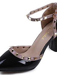 cheap -Women's Sandals PU Spring Walking Studded Flat Heel White Black Gray Blushing Pink 2in-2 3/4in