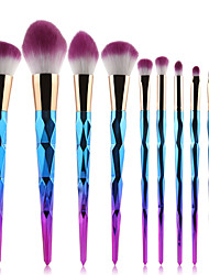 cheap -10pcs pro diamond shape makeup brush set powder blusher eyeshadow eyeliner eyebrow lip brush rainbow golden cosmetic tool kits