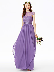 cheap -A-Line Jewel Neck Floor Length Chiffon Floral Lace Bridesmaid Dress with Bow(s) Lace Sash / Ribbon Pleats by LAN TING BRIDE®