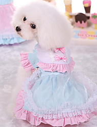 Dog Dress Dog Clothes Cute Casual/Daily Princess Blushing Pink Light Blue