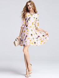 Feminino Evasê Vestido,Diário Casual Partido de escritório Encontro Vintage Fofo Moda de Rua Estampado Decote VAltura dos Joelhos Acima