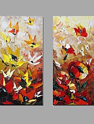 cheap -Hand-Painted Abstract Vertical, Abstract Canvas Oil Painting Home Decoration Two Panels