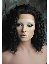 cheap -Women Synthetic Lace Front Wig Medium Length Deep Wave Black Natural Wigs Costume Wig