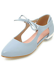 Women's Heels Basic Pump PU Spring Summer Casual Office & Career Dress Basic Pump Lace-up Hollow-out Chunky HeelBlushing Pink Blue Beige