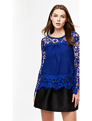 cheap -Women's Lace Casual Plus Size Solid Elegant Lace Blouse,Top Quality Round Neck Long Sleeve T Shirt