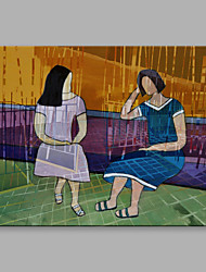 cheap -IARTS Oil Painting Modern Abstract Two Women are Small Talking Art Acrylic Canvas Wall Art For Home Decoration