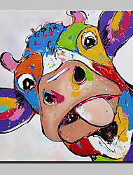 cheap -Oil Painting Hand Painted - Animals Abstract Art Deco/Retro Cartoon Lovely Modern/Contemporary Canvas