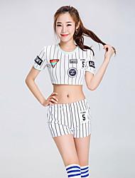 baratos -Fantasias para Cheerleader Roupa Mulheres Espetáculo Poliéster Bloco de Cor Recortes Manga Curta Alto Blusa Calções