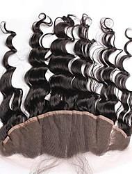 Natürliche Farbe lose Welle brasilianischen reinen Haarspitze frontalen Verschluss 13x4 Zoll