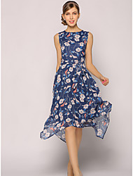cheap -Women's Daily Going out Work Sophisticated Swing Dress,Floral Round Neck Knee-length Sleeveless Polyester Summer High Rise Inelastic Thin