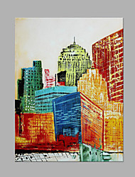 cheap -IARTS®Modern Abstract Oil Painting Modern City Architecture Landscape Picture with Stretched Frame Handmade Painting For Home Decoration Ready To Hang