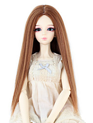 cheap -Synthetic Doll Accessories Long Straight Light Brown Color Middle Centre Parting Hair for 1/3 1/4 Bjd SD DZ MSD Doll Costume Wig Not for Human Adult