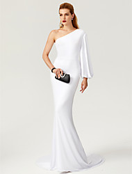 Mermaid / Trumpet One Shoulder Sweep / Brush Train Jersey Formal Evening Dress by TS Couture®