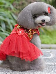 baratos -Cachorro Vestidos Roupas para Cães Floral/Botânico Roxo Vermelho Azul Rosa claro Plumagem Terylene Ocasiões Especiais Para animais de