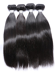 Fashionable and Cheap 4 Pcs 400g Natural Straight Brazilian Virgin Remy Human Hair Wefts 100% Unprocessed Natural Black Human Hair Weaves/Extensions