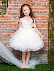 cheap -Ball Gown Knee Length Flower Girl Dress - Tulle Netting Lace Satin Sleeveless Jewel Neck with Bowknot Applique Beading by LAN TING BRIDE®
