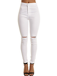 cheap -Women's High Waist strenchy Skinny Jeans Pants, Casual Street chic Solid Cotton Blend Spring Summer Fall
