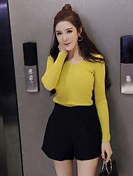 Damen Einfach Hohe Taillenlinie Unelastisch Kurze Hosen Breites Bein Hose Solide