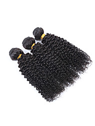 Fashion and Popular Short Size 3 Pcs/Lot 300g Brazilian Remy Human Hair Wefts 100% Unprocessed Natural Black Human Hair Kinky Curly Weaves/Extensions