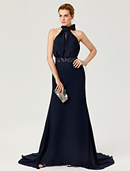 cheap -Sheath / Column High Neck Court Train Chiffon Cocktail Party / Formal Evening Dress with Beading / Bow(s) / Sash / Ribbon by TS Couture®