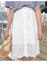 Women's Casual/Daily Knee-length Skirts A Line Solid Summer