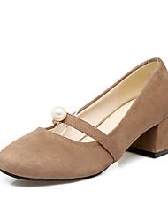 Women's Heels Basic Pump Nubuck leather Spring Summer Wedding Office & Career Party & Evening Dress Basic Pump Imitation Pearl Chunky Heel