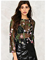 Women's Party Daily Casual Vintage Cute Sexy Blouse,Botanical Embroidery Round Neck Long Sleeves Mesh