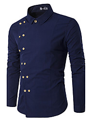 cheap -Men's Party Cotton Shirt - Solid Colored / Long Sleeve