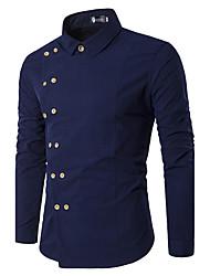 cheap -Men's Party Daily Vintage Casual Spring Fall Shirt,Solid Shirt Collar Long Sleeves Cotton Medium