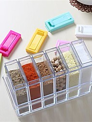 cheap -6Pcs/Set   Transparent Spice Jar Colorful Lid Seasoning Box  Kitchen Tools Salt Condiment Cruet Storage Box Containers