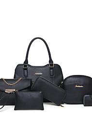 Donna Sacchetti Per tutte le stagioni PU (Poliuretano) sacchetto regola Set di borsa da 6 pezzi per Nero Rosso Grigio Rosa Marrone