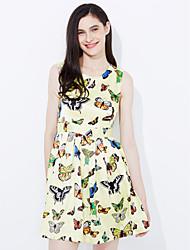 baratos -Mulheres Moda de Rua Reto Bainha Rendas Vestido Floral Jacquard Animal Acima do Joelho
