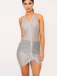cheap -Women's Party Daily Beach Holiday Going out Club Cute Casual Sexy Bodycon Sheath Dress,Solid Halter Mini Above Knee Sleeveless Mesh