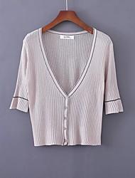 Standard Cardigan Da donna-Per uscire Casual Semplice Moda città Tinta unita A V Mezza manica Lana Primavera Medio spessoreMedia
