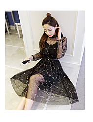 Women's Daily Going out Cute Sexy Street chic A Line Loose Dress,Solid Grid Pattern Round Neck Midi Long Sleeves Polyester Mesh Voile